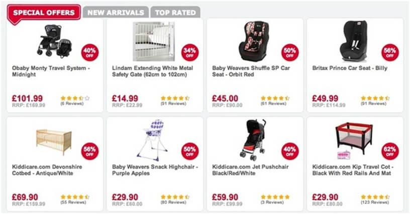 Kiddicare's Product Page